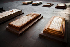 Catholicos of Armenians Tombs at Holy Etchmiadzin, Vagharshapat, Armenia. Tombs of the Catholicos of Armenians at the entrance of Mother Cathedral of Holy Stock Photo