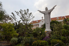 Christians in Asia. Vietnam is asian country with highest number of Christians. Here we can see memorial wall at  roman catholic church in District 1 in Ho Chi Stock Photo