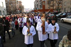 Catholics in Moscow Royalty Free Stock Photography