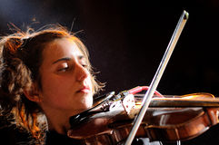 Cathy Lucas, violinist of Fanfarlo Royalty Free Stock Photo