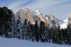 Catinaccio peak and Vajolet towers Stock Photos