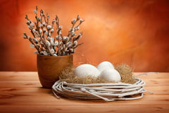 Catkin and easter eggs Stock Photo