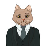 Catman in a business suit and tie. The cat man is the boss. Biggie vector illustration. Royalty Free Stock Photography