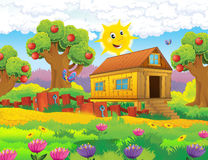 Catoon farm scene - stage for different usage Stock Images