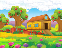 Catoon farm scene - stage for different usage Stock Photography