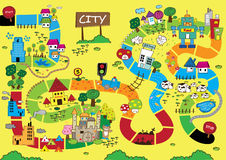 Catoon Map of City. Cartoon illustration of a map of the city Stock Photo