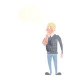catoon neugieriger Mann mit Gedankenblase Stockfotos
