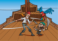 Catoon priates dueling. On a pirate shirt Stock Image