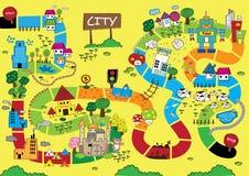 Catoonkaart van Stad Stock Foto