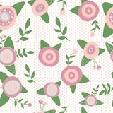Catoons hand drawn style. Seamless pattern pink. Catoons hand drawn style. Seamless pattern flowers nature Royalty Free Stock Photography