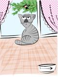 Catowsky, the thinking cat. Sitting  in the middle of a living room, with his plate empty, observing a silly bird mocking him from outside. Sketch Royalty Free Stock Image