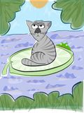 Catowsky, the thinking cat. Sitting  in the middle of a pond on a big leaf of water lily, with a naughty frog mocking him. Sketch, illustration, drawing Royalty Free Stock Photo