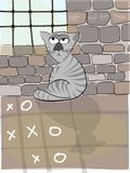 Catowsky, the thinking cat. Sitting in prison for unknown reason. Watching whats out of the window, over the bars. Playing noughts and crosses with himself Stock Photo