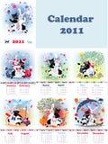 Catrabbit calendar. Set of month's calendars for 2011, with fantastic catrabbit creature Vector Illustration