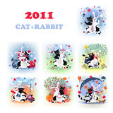 Catrabbit set Royalty Free Stock Images