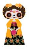 Catrina Doll amarilla ilustración del vector