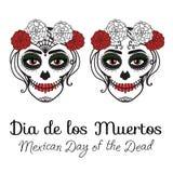 Catrina kvinna med smink av sockerskallen de diameter los muertos Mexicansk dag av dödaen Teckning för vektorillustrationhand royaltyfri illustrationer