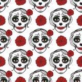 Catrina kvinna med smink av sockerskallen seamless modell de diameter los muertos Mexicansk dag av dödaen vektor royaltyfri illustrationer