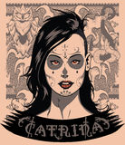 Catrina. Portrait of a woman and some vector elements Stock Photo