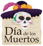 Catrina Skull élégante avec la célébration littéraire de vers et le x22 ; Dia de Muertos et x22 ; , Illustration de vecteur Photos stock