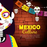 Catrina with skull banner banner to event celebrate. Vector illustration vector illustration