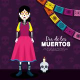 Catrina and skull with candle to day of the dead event. Vector illustration royalty free illustration