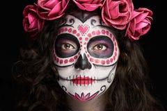 Catrina skull face. Clsoe up portrait of catrina skull face isolated on black royalty free stock photography