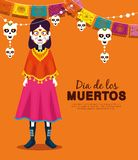 Catrina with skull party banner to celebrate event. Vector illustration vector illustration