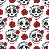 Catrina woman with make up of sugar skull. Seamless pattern. Dia de los muertos. Mexican Day of the dead. Vector royalty free illustration