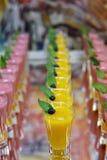 Catring ha colorato il dessert della mousse della frutta in vetro Fotografie Stock