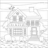 Catroon house building coloring vector illustration Royalty Free Stock Photos