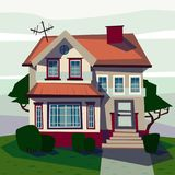 Catroon house building raster illustration Stock Photography