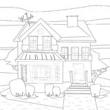 Catroon house building vector coloring illustration Royalty Free Stock Photo