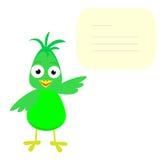 Catrtoon bird with banner. Green cartoon bird show empty banner Stock Photos