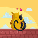 Cats. Illustration of  two cats in love sitting on the roof Royalty Free Stock Photography