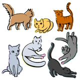 Cats. Set of seven fluffy cats Stock Photo