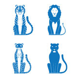 Cats. Vector illustration of a tiger lion cheetah and panther Stock Images