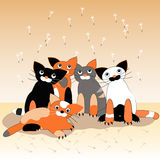 Cats 5. From cat's life, flocks. Vector illustration Royalty Free Stock Photos