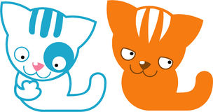 Cats. Funny blue and orange cats smiles Royalty Free Stock Images