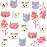 Cats abstract  seamless pattern. It is located in swatch m Stock Photos