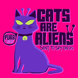 Cats are Aliens. Funny Vector colorful label poster or t-shirt print design Royalty Free Stock Photo