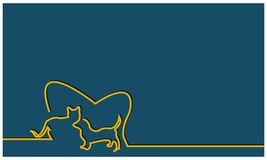Cats And Dogs Background Vector . Vector Illustration On Blue Background Stock Photos