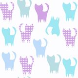Cats animals seamless pattern. It is located in swatch menu, vec Royalty Free Stock Photo