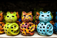 Cat Lanterns. Handmade candle holders made in Crete Royalty Free Stock Photos