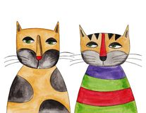 Cats. Artwork, ink and watercolors on paper Stock Photo