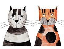 Cats. Artwork, ink and watercolors on paper Royalty Free Stock Photo