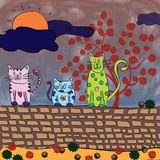 Cats in autumn Stock Image