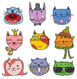 Cats avatars. Vector Collection of Cute Cartoon Doodle Cats Stock Illustration
