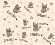 Cats background. Cute cats background with paws vector illustration