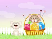 Cats with a ball of yarn Royalty Free Stock Image